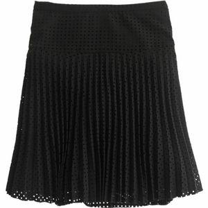 •J. CREW• Laser-Cut Pleated Skirt In Black 6.